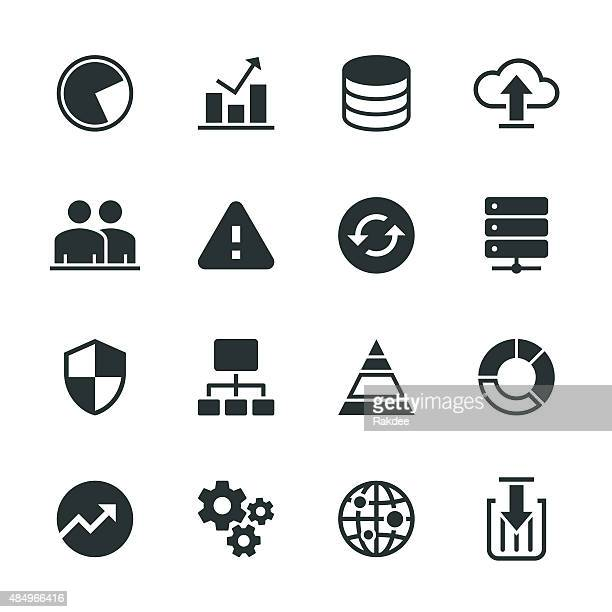 Datenbankmanagement Silhouette Icons