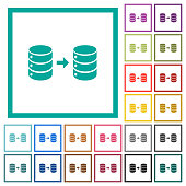 Database mirroring flat color icons with quadrant frames