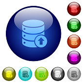 Database move up color glass buttons