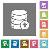 Database move up square flat icons