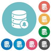 Database notifications flat round icons