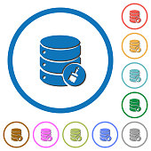 Database paste data icons with shadows and outlines