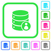 Database privileges vivid colored flat icons icons