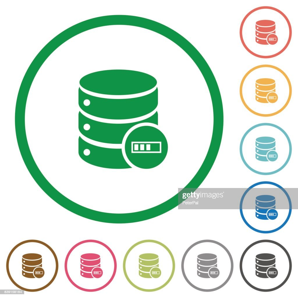 Database processing flat icons with outlines