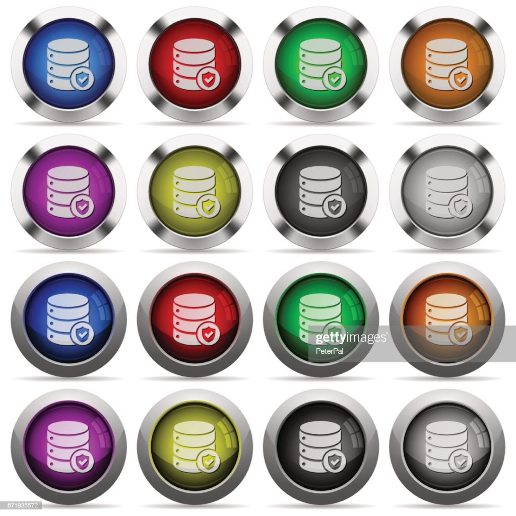 Database protected glossy button set