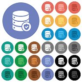 Database protected round flat multi colored icons