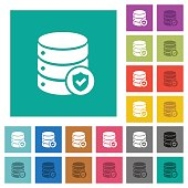 Database protected square flat multi colored icons