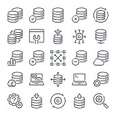 Database related line icon set. Server and backup linear icons. Hosting and web storage outline vector sign collection.