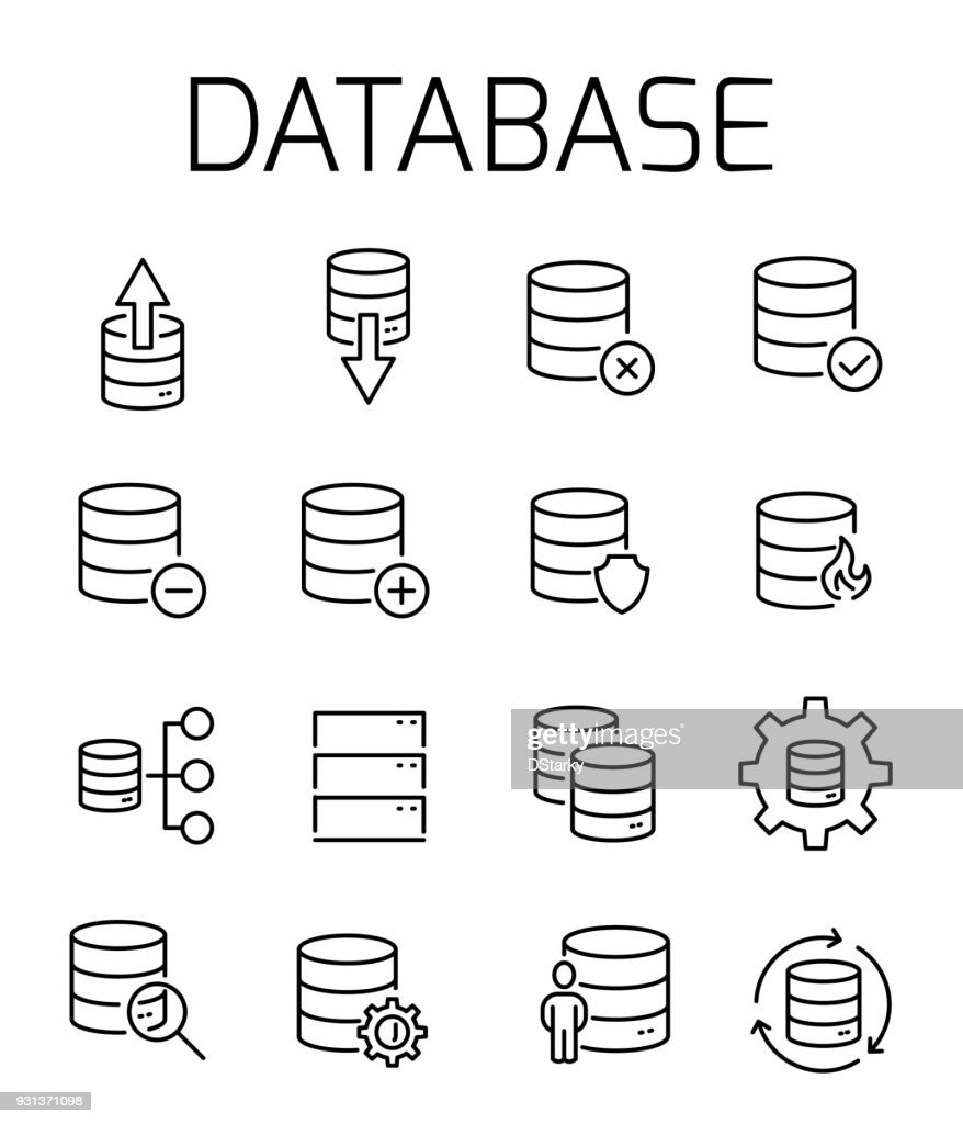 Database related vector icon set.