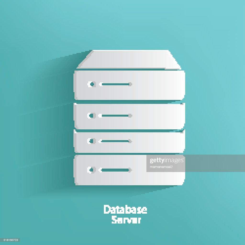 Database server symbol on blue background,clean vector