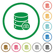 Database snapshot flat icons with outlines