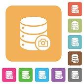 Database snapshot rounded square flat icons