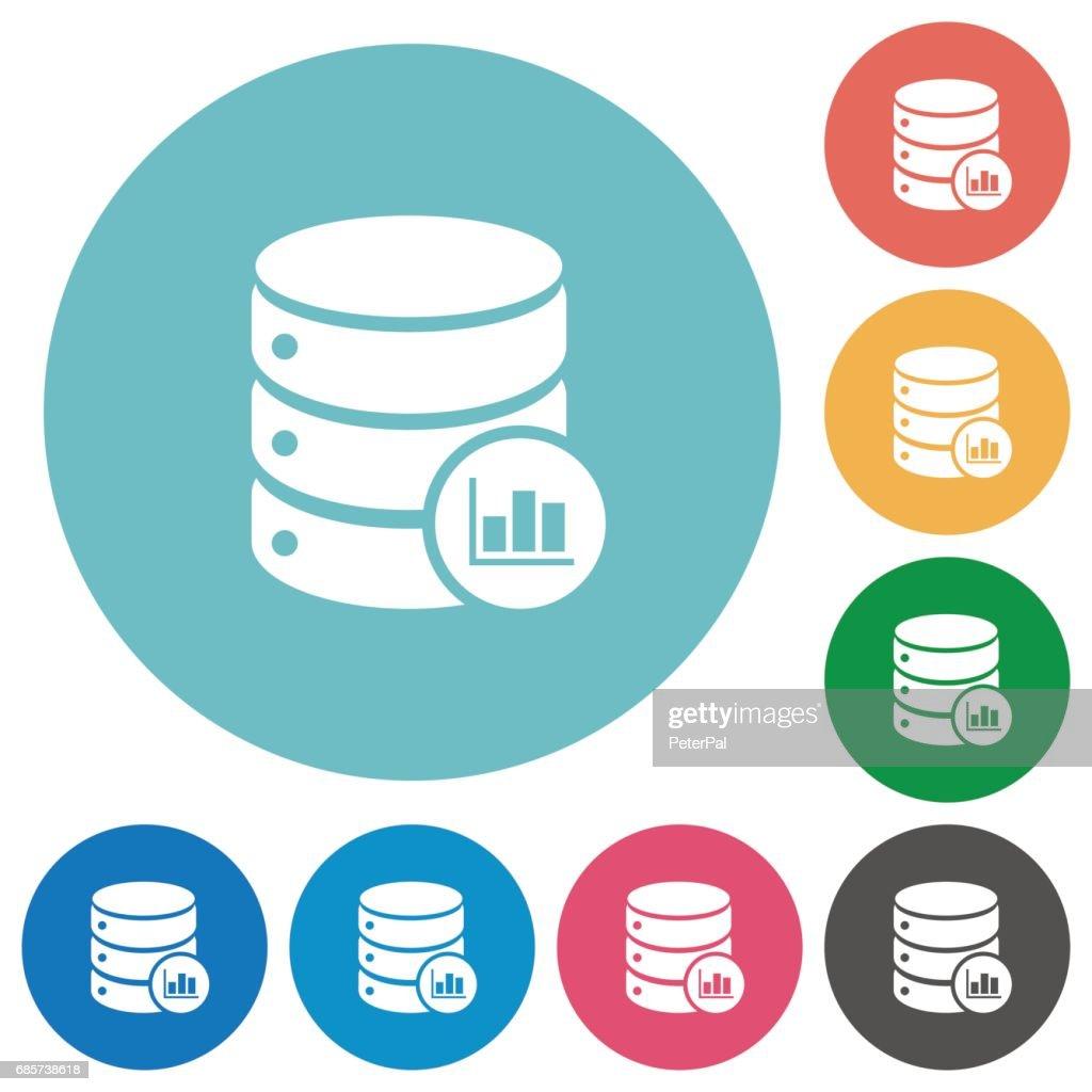 Database statistics flat round icons