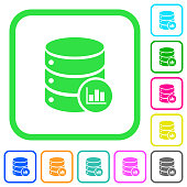 Database statistics vivid colored flat icons icons
