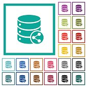 Database table relations flat color icons with quadrant frames