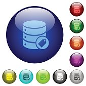 Database tag color glass buttons