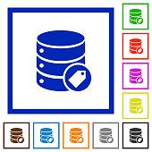 Database tag flat framed icons