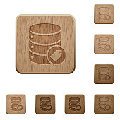Database tag wooden buttons