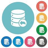 Database transaction rollback flat round icons