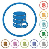 Database transaction rollback icons with shadows and outlines