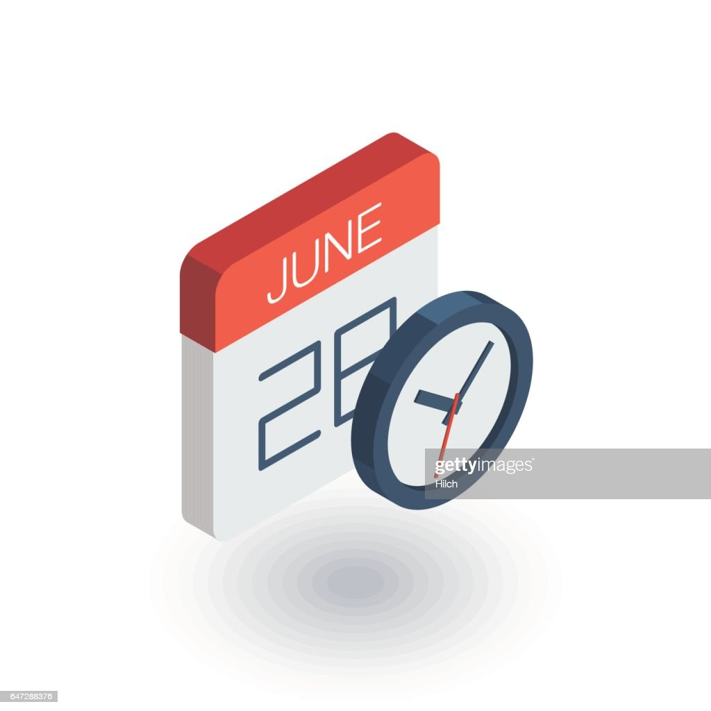 date and time, calendar and clock isometric flat icon. 3d vector