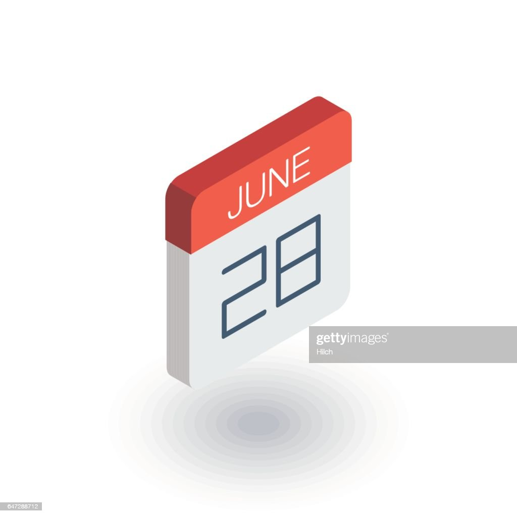 date and time, calendar isometric flat icon. 3d vector
