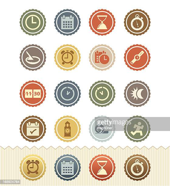 Date and Time Icons : Vintage Badge Series
