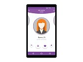 Dating app on mobile phone concept interface vector illustration