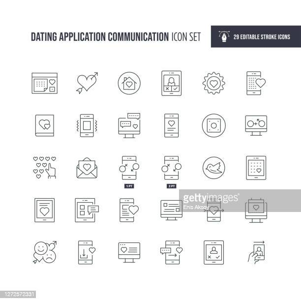 デートアプリケーションコミュニケーション編集可能な線アイコン - ミレニアル世代点のイラスト素材/クリップアート素材/マンガ素材/アイコン素材