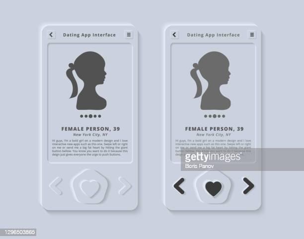 ilustraciones, imágenes clip art, dibujos animados e iconos de stock de plantilla de interfaz de usuario de perfil de citas para la aplicación móvil de medios sociales en skeuomorphism limpio y moderno o ui de polimorfismo / estilo ux - panel de indicadores medios visuales