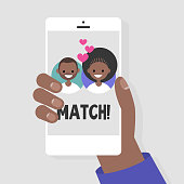 Dating service, mobile application. A hand holding a smart phone. Love and relationships. Black couple. Flat editable vector illustration, clip art