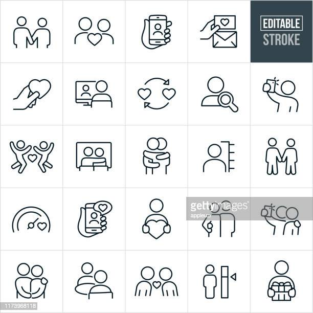 dating thin line icons - ediatable stroke - using phone stock illustrations