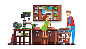 Daughter kid helping father working at home woodwork  workshop. Carpenter man sawing wood with circular saw. Flat style isolated vector