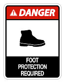 Daution Foot Protection Required Wall Sign on white background