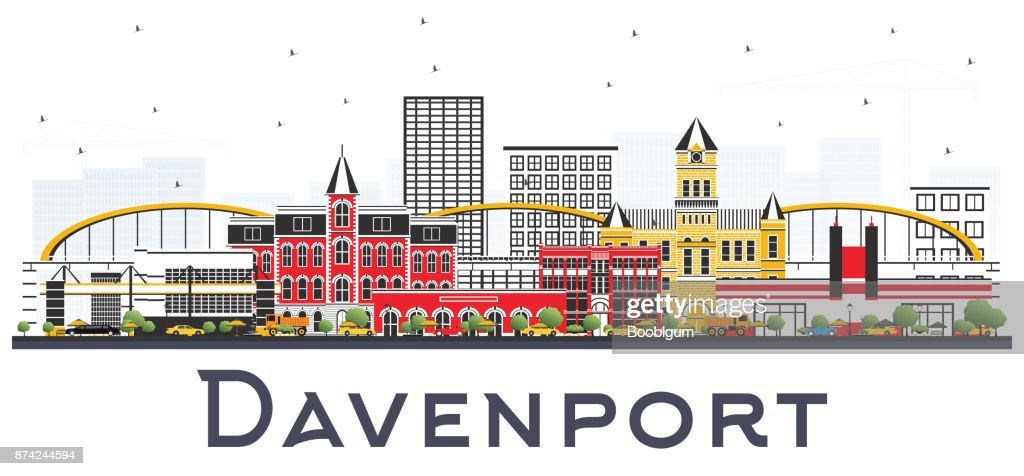 Davenport Iowa Skyline with Color Buildings Isolated on White Background.