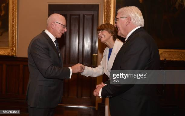 David Hurley Govenor of New South Wales greets German President FrankWalter Steinmeier and his wife Elke Buedenbender at Govenment House on November...