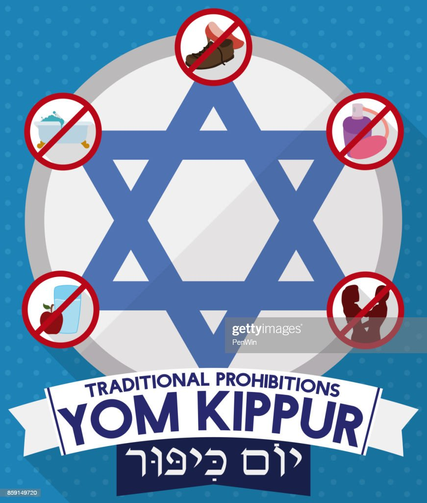 Davids Star With Prohibitions And Greeting Ribbons For Yom Kippur