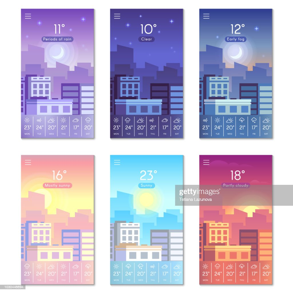 Day and night. Cartoon daytime phone wallpaper with city buildings, sun, moon and stars sky. Smartphone screen weather vector backdrop