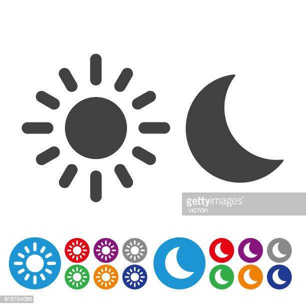 day and night icons - graphic icon series - sun stock illustrations
