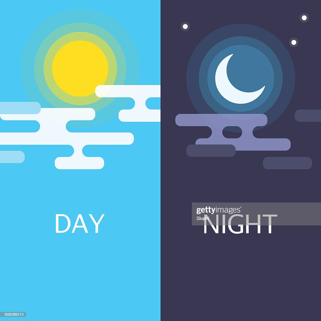 Day and night vector flat illustrations or banners.