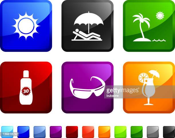 day at the beach royalty free vector icon set stickers - solar flare stock illustrations, clip art, cartoons, & icons
