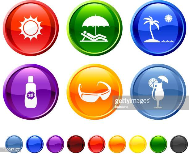 day at the beach royalty free vector icon set - solar flare stock illustrations, clip art, cartoons, & icons