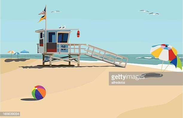 tag am strand - strandwächterhaus stock-grafiken, -clipart, -cartoons und -symbole