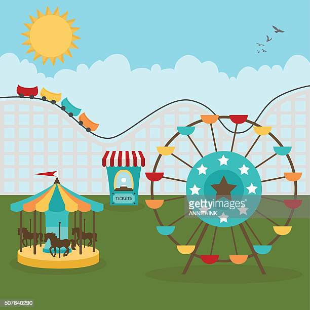 day at the fair - ferris wheel stock illustrations, clip art, cartoons, & icons