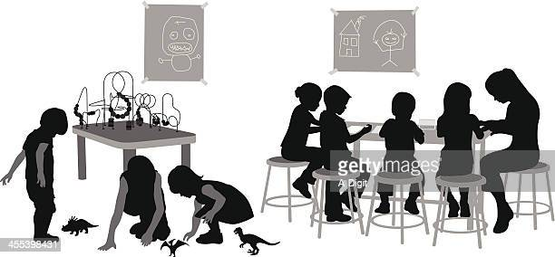 Day Caring Vector Silhouette