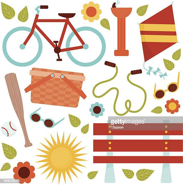 day in the park - picnic basket stock illustrations