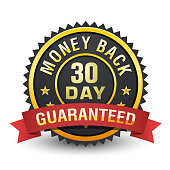 30 Day money back guarantee heavy metallic badge on white background.