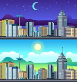 Day night cityscape. Buildings city office center, apartment hose hotel day time urvan vector set