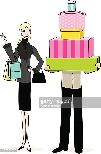day of shopping - money to burn stock illustrations, clip art, cartoons, & icons