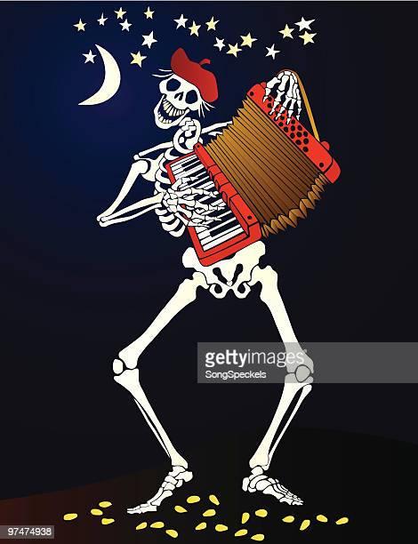 ilustraciones, imágenes clip art, dibujos animados e iconos de stock de día de los muertos _acordeón jugando esqueleto - dia de muertos